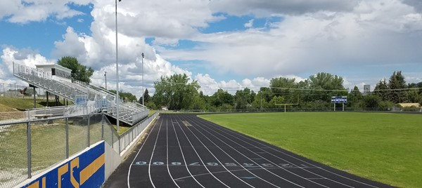 View of the straight-away lanes on the track from the road
