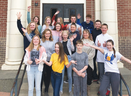 Lewistown Junior High GIS Club members pose with their faculty advisors after hearing their Samsung Solve for Tomorrow entry will be one of the state finalists. Shown are (bottom, from left) Lexi Breidenbach, Julia Kunau, Jake Smith, Maddie Denton; (second row from left) teacher Susan Flentie, Kylee Peterson, teacher Katherine Spraggins, Wyatt Elam; (third row, from left) Rylee Mitchell, Ava Assenmacher, Kylie Moline, Carter Ricks; and, (top row, from left) Anna Welsh, Brooklynn Behl, Lauren Plagenz, Landon Burleigh and Fischer Brown.