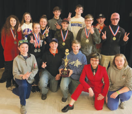The Junior High Science Olympiad team that took second place includes (front row from left) Kai Painter, Tyson Dubbs, Tate Mangold, Jasper Fairchild, and Emma Myers; (middle row from left) Julia Kunau, Tal Brooks, Owen Day, Landon Burleigh; and (back row from left) Isha VanderBeek, Ava Assenmacher, Kylie Moline, Matthew Golik, James Martell and Carson Barta.