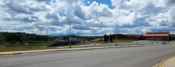 Street view of Fergus High and the parking area near the Central Montana Infirmary