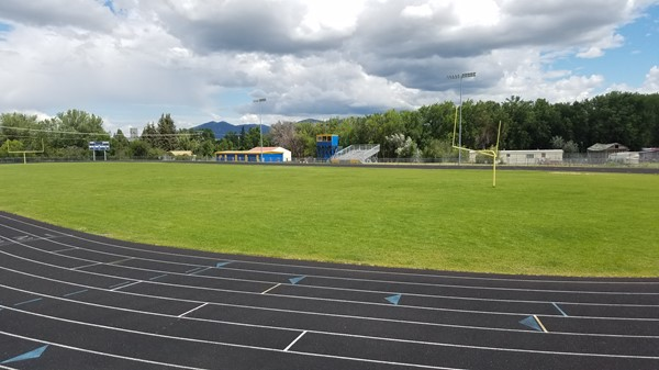 View of the athletic field and track from the ticket area