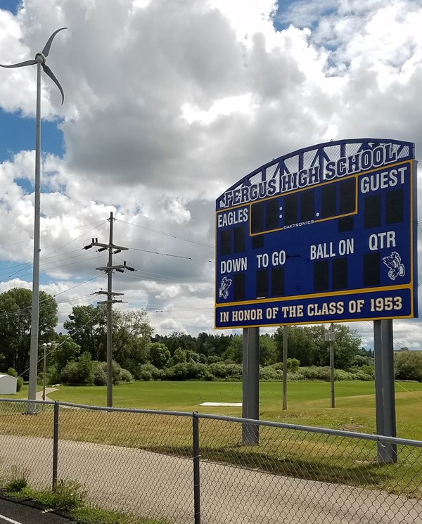 View of  the Class of 1953 scoreboard at Golden Eagle Stadium