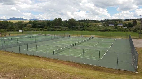 View of the six lower tennis courts at the Fergus High tennis facility