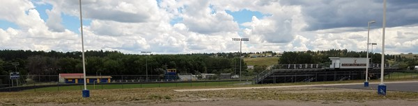 Golden Eagle Stadium from the far end of the parking lot