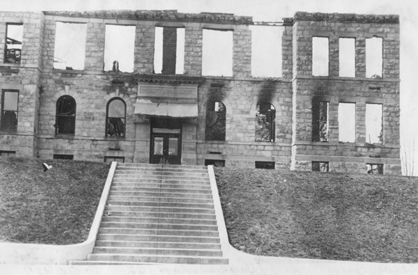 Fergus County High School after controversial November 1917 fire